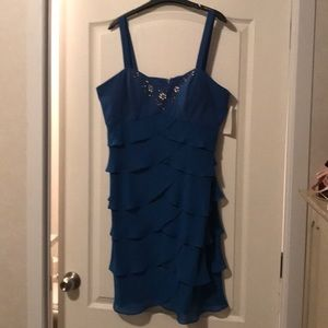 Blue Dress with ruffling and sequence - Size 18
